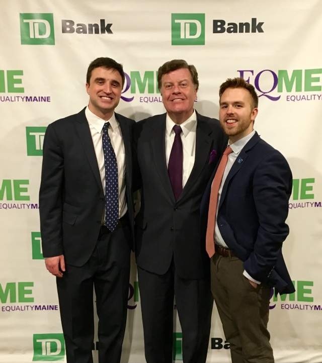 State Reps. Henry Beck, Barry Hobbins and Ryan Fecteau attending the Equality Maine Dinner/Auction on April 9.